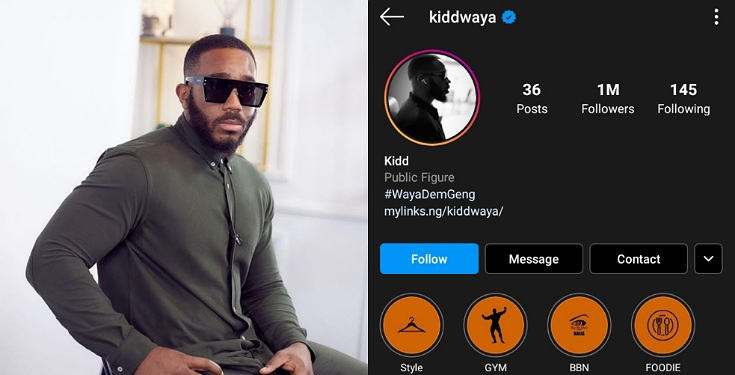 Kiddwaya Becomes the second BBNaija 2020 Housemate to Hit 1Million Followers on IG