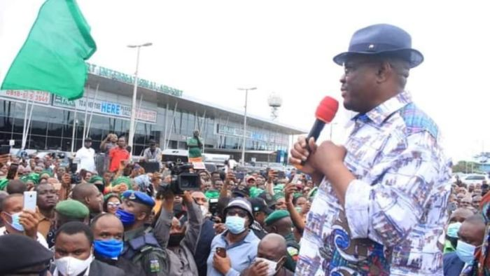 Mammoth Crowd Receives Governor Wike Back Home In Port Harcourt After Edo State Election