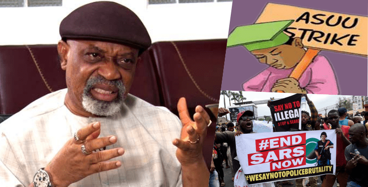 Minister Of Labour, Chris Ngige Says ASUU Strike Is Boosting #EndSARS Protest