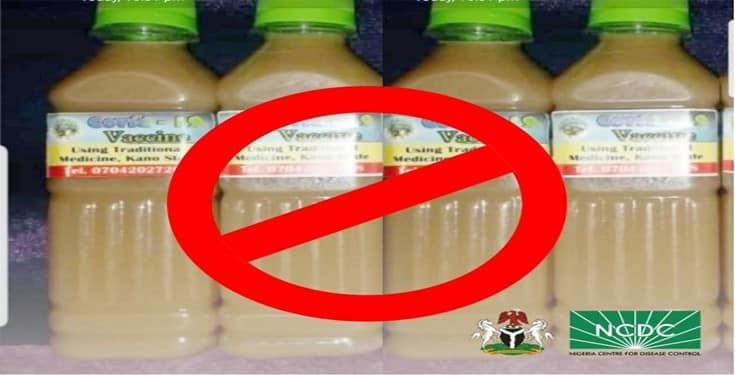 NCDC Shared Photos of the Fake COVID-19 Vaccine some Kano State Residents are Ingesting