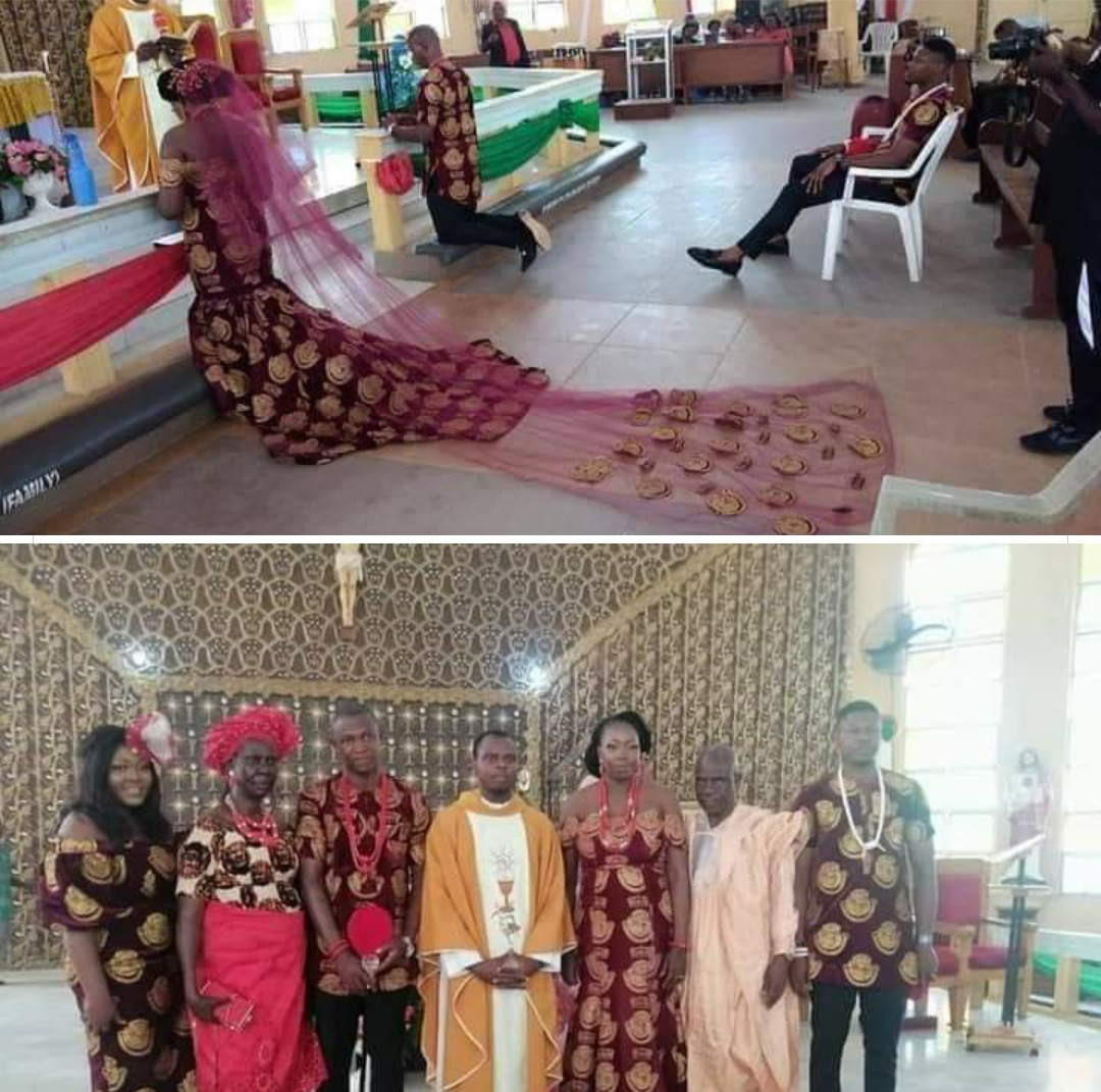 Nigerian couple weds in gorgeous traditional Isiagu attire
