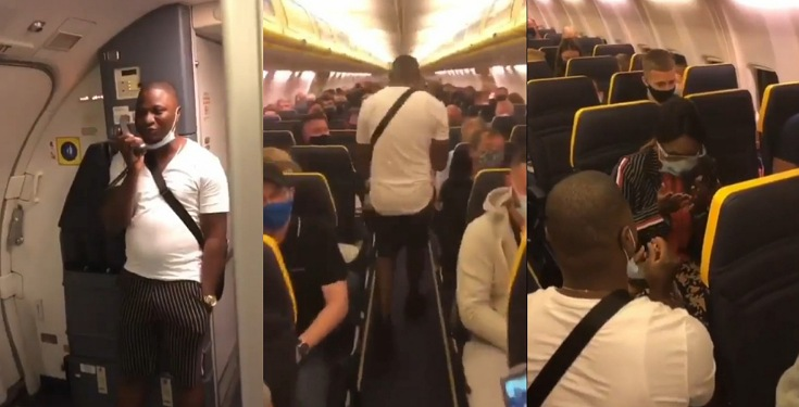 Nigerian man Proposes to his Girlfriend onboard an International Flight (Video)
