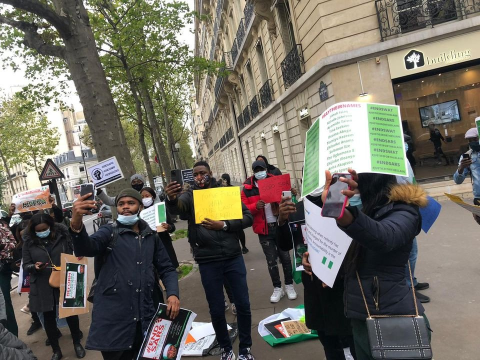 Nigerians In France Stage #EndSARS Protest