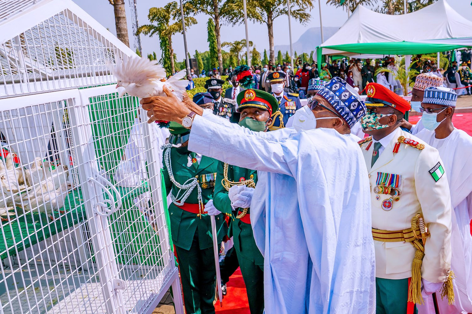 Nigerians react as the white pigeons released by President Buhari at Armed Forces Remembrance Day celebration refused to fly