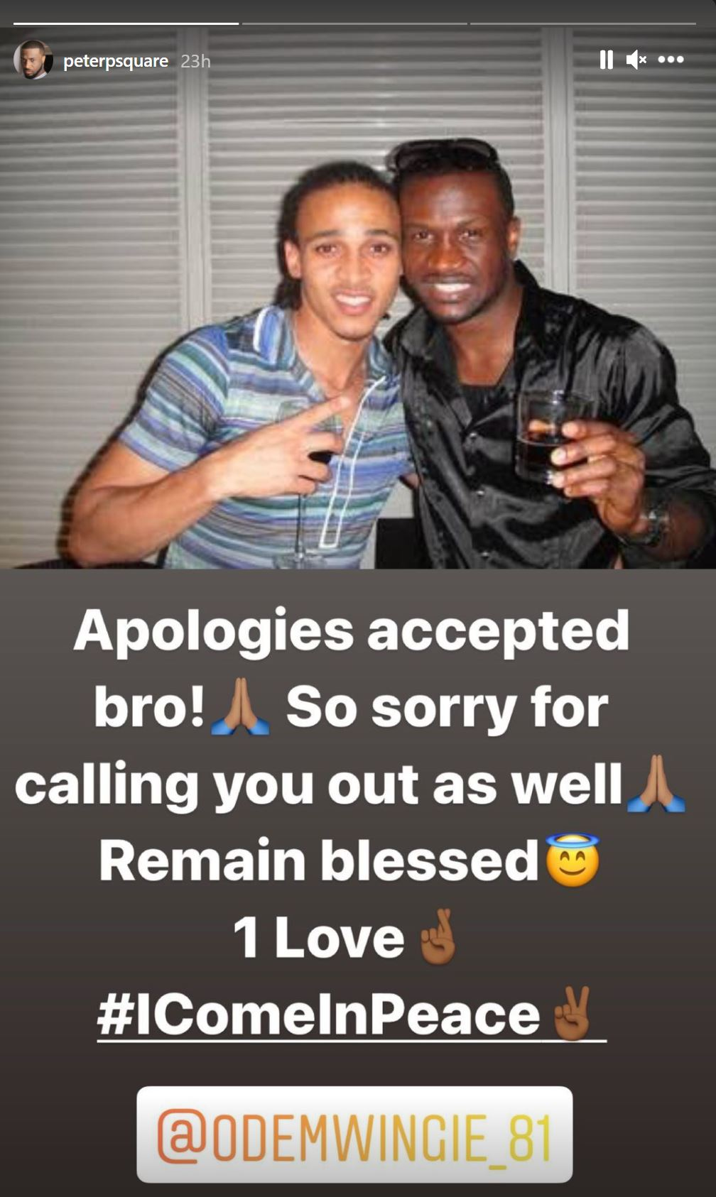 Peter Okoye Makes Peace With Odemwingie After He Apologized And Gave Reasons For Calling Him Out [Video]
