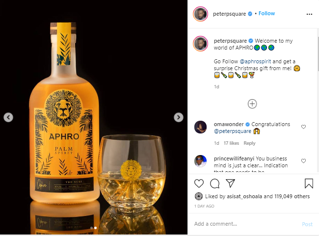 Peter Okoye 'Mr P' Launches Wine Company, Aphro Palm Spirit