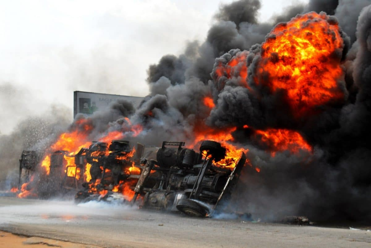 Petrol Tanker Catches Fire In Front Of Ogun State Governor's Office