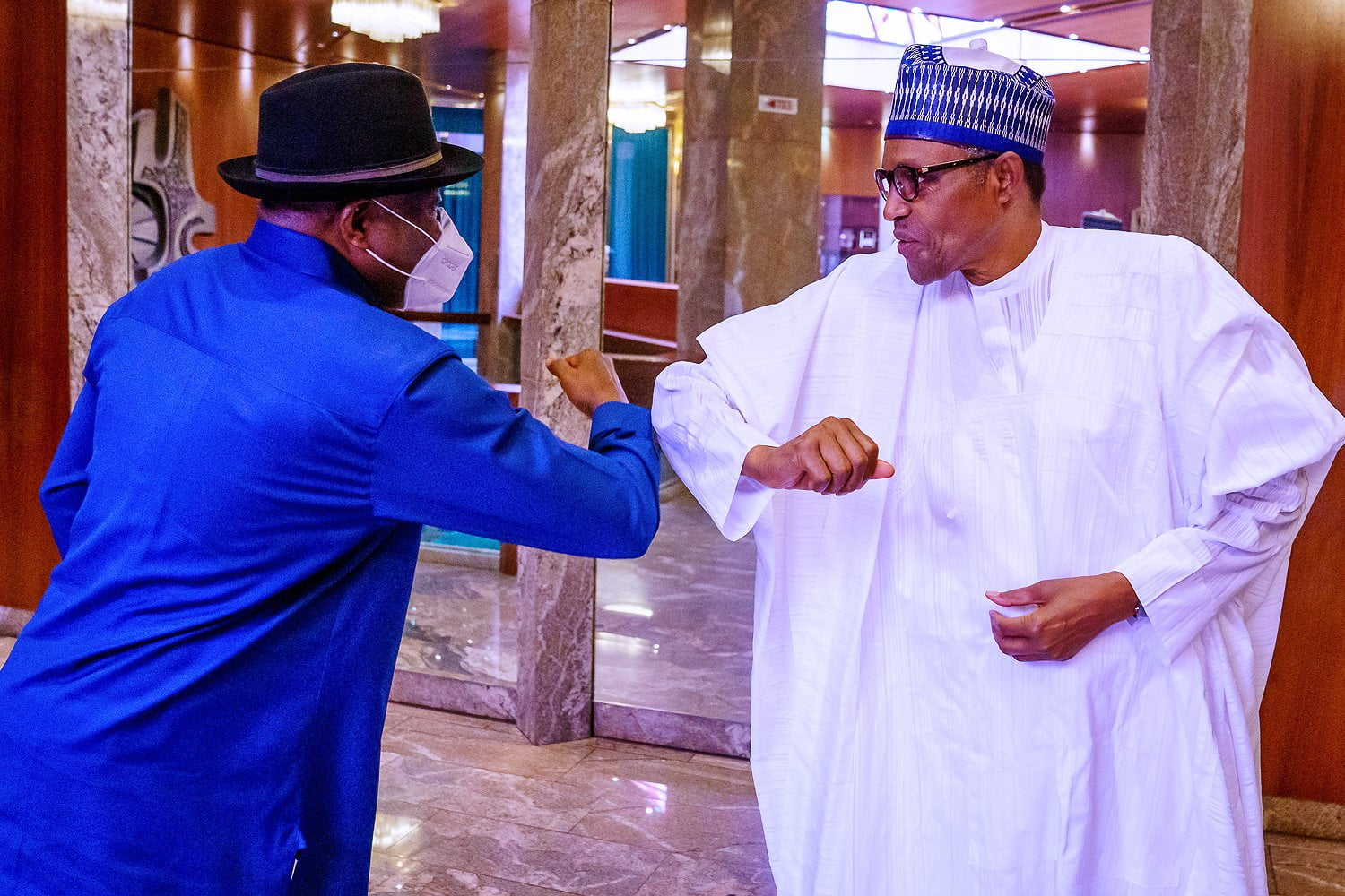 President Buhari In Meeting With Fmr. Obasanjo, Jonathan, Others