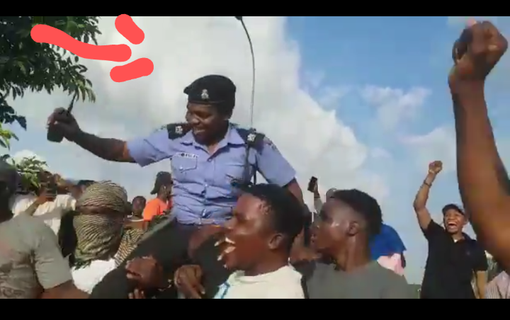 Protesters Carry And Celebrate A Policeman At End SARS Protest In Abuja