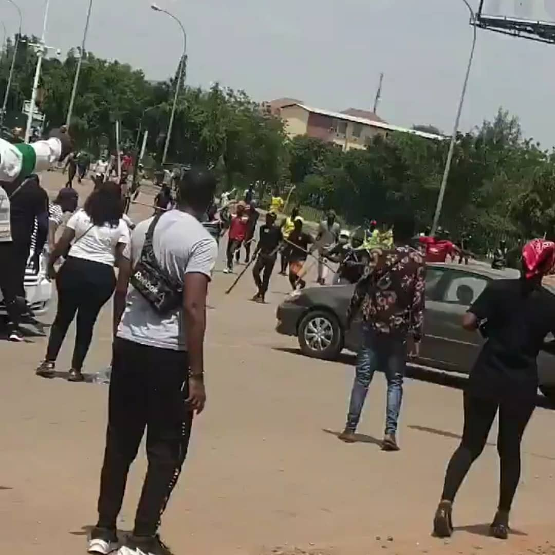 See What The Fulani/ProSARS Are Doing To Protesters In Abuja (Watch Video)