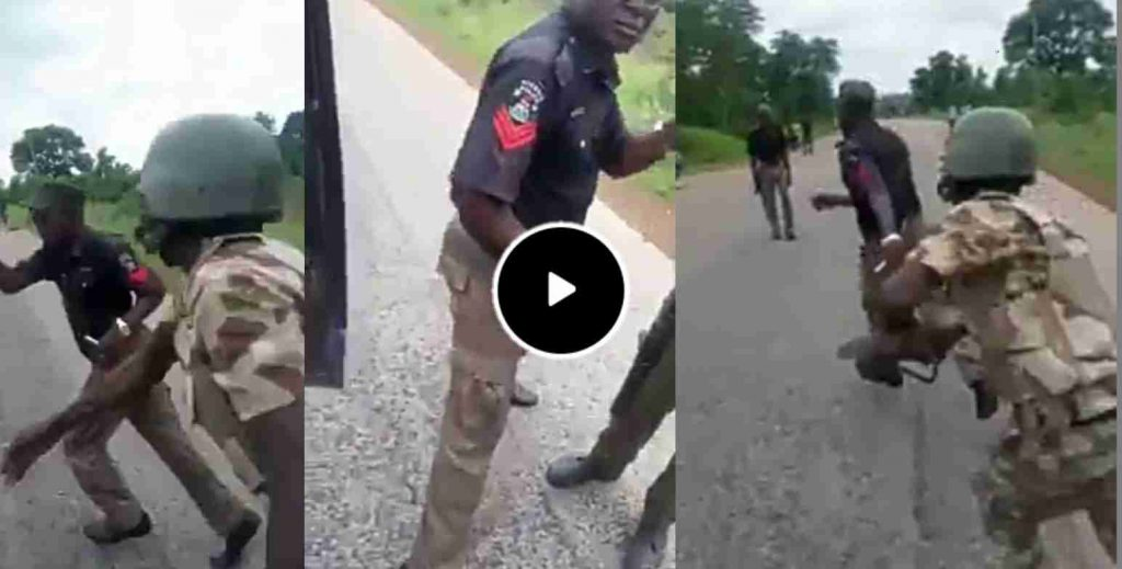Soldiers Beat Policemen Extorting Motorists, Cyclists On Aba Road (Watch Video)