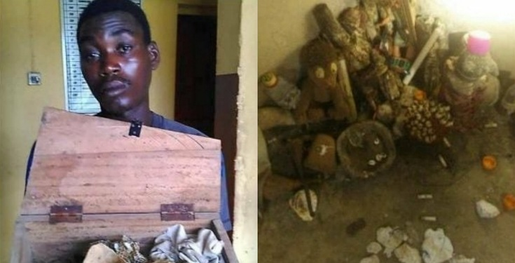 Suspected Ritualist Arrested as Police Recovered Mini Coffin, Fetish Items