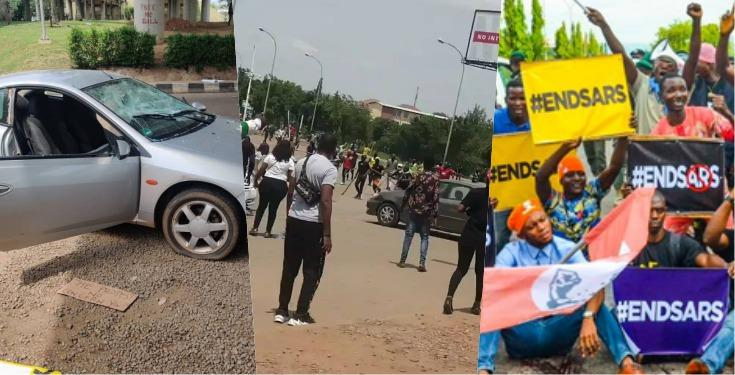 Thugs Attack #EndSARs Protesters in Abuja (Watch Video)