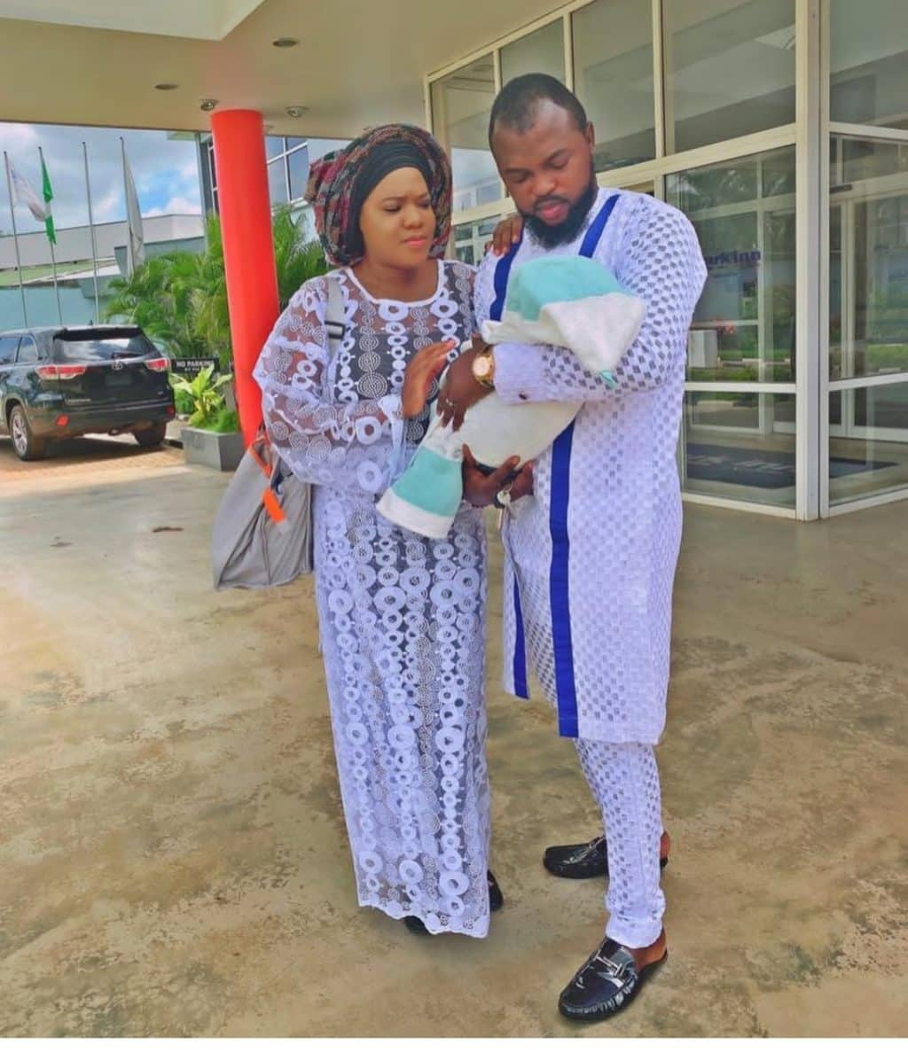 Toyin Abraham and her husband attend first church service with their son, Ire (See Photos)