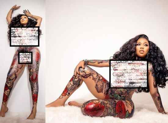 Toyin Lawani goes completely naked to show off amazing body art in celebration of her 39th (photos)