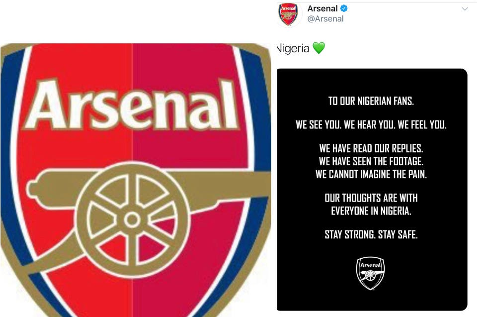'We Cannot Imagine The Pain' - Arsenal Send Message To Nigerian Fans