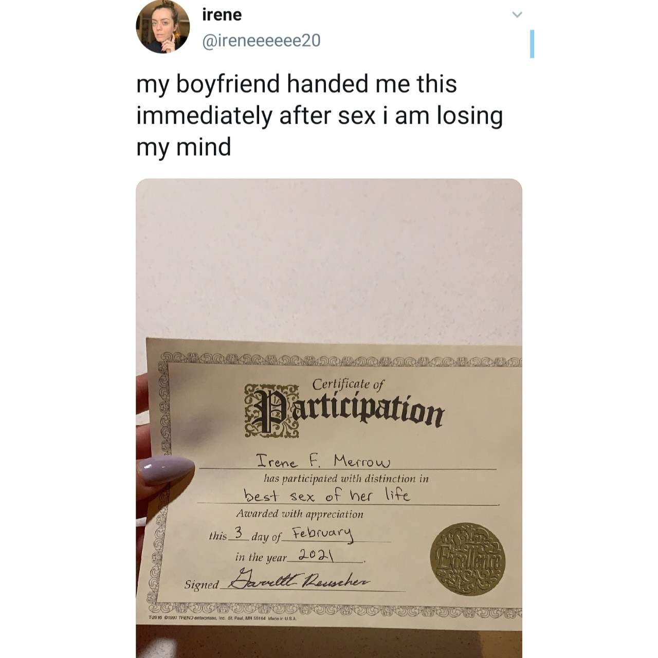 Woman receives certificate from her boyfriend immediately after sexual intercourse