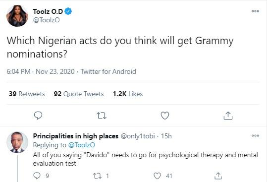 """You need Mental test if you think Davido deserves Grammy"" - Fans drag one another over Award Nominations"